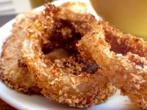 healthy baked onion rings with miso gravy