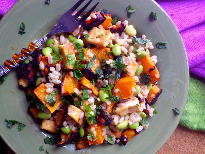 Tofu Edamame Miso Grain Salad