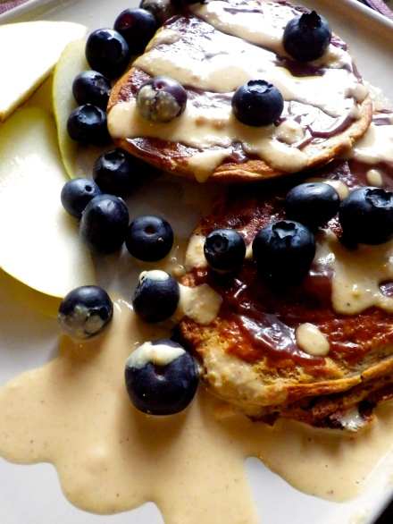 Pear Pancakes with Chocolate and Peanut Butter Recipe